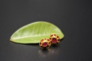 STUNNING PAIR of HANDMADE SOLID 22K GOLD STUD EARRING with RUBY