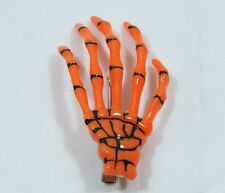 Pair of Skeleton Hand Hair Clip Orange Halloween Costume Spooky Creepy