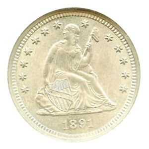 1891-S Liberty Seated Quarter, NGC MS64