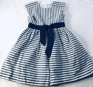 Carters Vintage Striped Dress Blue Navy White Sz 5 5T Bow Ribbon