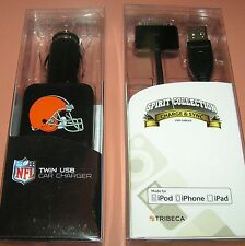 Tribeca Twin USB car charger iPhone 4/iPad Charge & Sync cable, Cleveland Browns