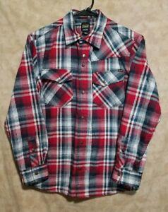Volcom Boy's Long Sleeve Plaid Shirt Size Large (See Measurements Below)