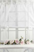 ROSE QUEEN Raffrollo Raffgardine 120x120cm weiss FRANSKE romantisch Shabby CHIC