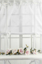 ROSE QUEEN Raffrollo Raffgardine 120x120cm Weiss FRANSKE Romantisch Shabby  CHIC