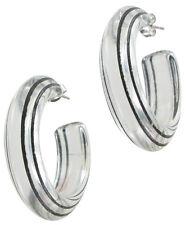Hoop Earrings Pierced Clear Lucite Black Vintage