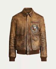 Polo Ralph Lauren Vintage Leather Brown Bomber Flight Jacket Medium