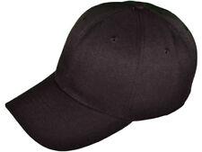 Loop Plain Baseball Cap Solid Color Blank Curved Visor Hat Adjustable Black