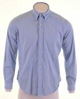 POLO RALPH LAUREN Mens Shirt Large Blue Striped Cotton Custom Fit  IE02