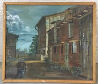 Backyard With Person - 1976 - Neusachliche Painting - GDR Art ??