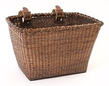 Bicycles Cane Woven Rectangular Toto Basket with Authentic Leather straps