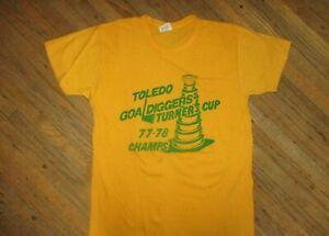 vtg 1970s TOLEDO GOALDIGGERS T SHIRT Turner Cup Champions Minors Hockey SM/XS