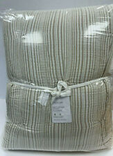 Pottery Barn Ivory/Flax Soft Cotton Striped Quilt King/Cal. King
