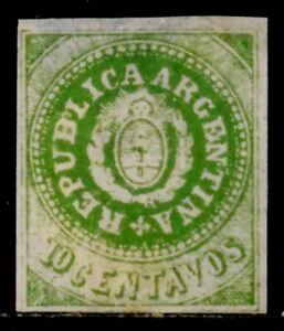 ARGENTINA: 1863 19TH CENTURY CLASSIC STAMP UNUSED NO GUM SCT #7F CV $1,000 SOUND