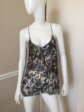 Free People NEW! Gray/Taupe Floral Stretch Lace Racerback Tank Top Sz XS NWOT!