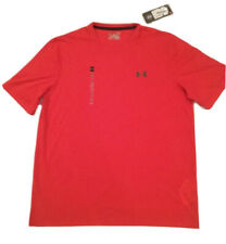 Under Armour Threadborne HeatGear Red-Orange Short Sleeve Shirt Size Lg