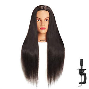 COSMETOLOGY MANNEQUIN HEAD 100% Human Hair with Free Clamp Practice Doll Style