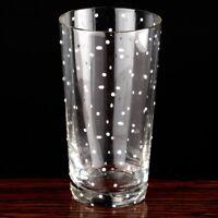 1 Becher 11,5 cm hohes Glas Punkte Dots weiß ~ Art Déco Trinkglas Wasserglas