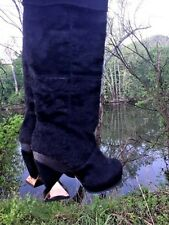 IRREGULAR CHOICE Cowboy Boots Black Bear Rabbit Fur LEATHER  Womens Shoes Sz 5.5
