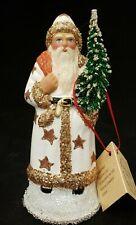 "Beautiful New Ino Schaller Bayern Papier Mache Santa White and Gold  Coat 6"""