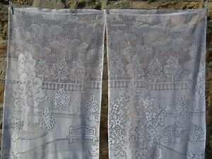 French lace motif view of  landscape garden a pair of 22'' x 59'' of each