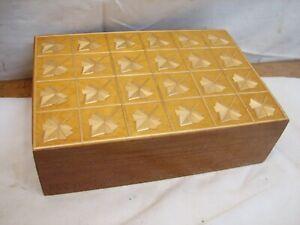 Unique Wooden Inlay Marquetry Trinket Dresser Box Wood Inlay Leaf Decor Ornate