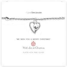 Life Charms Coeur & Clochette Noël Bracelet – Plaqué Argent Cadeau Bijouterie