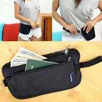 Black Travel Pouch Hidden Compact Security Money Passport ID Waist Belt Bag US
