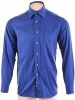 HUGO BOSS Mens Shirt Size 42 16 1/2 Large Blue Cotton  CY09
