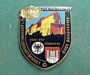 Plakette ADAC 1957 GAU SÜDBAYERN Gaugesellschaftsfahrt nach Burghausen Emaille