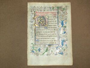RARE Illuminated Medieval Manuscript Vellum BOH Leaf w/ Bird Miniature, c.1460