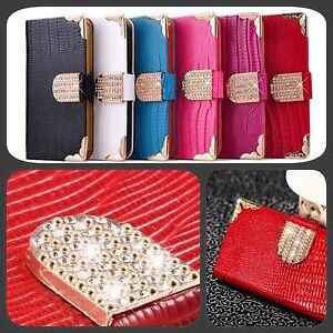 Luxury Waves Bling Magnetic Designer Diamond Flip Wallet Case For Various Models