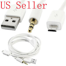 New 2 In 1 , 3.5mm Car AUX Audio Micro USB Charging Cable for LG Samsung HTC