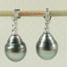 Black Tahitian Pearl & 8 Sparkling Diamonds: 14k White Gold Dangle Earrings TPJ