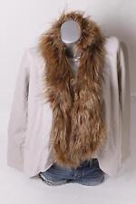 $119 International Concepts Faux-Fur Trim Draped Jacket M Medium Ivory NEW