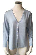 Strick Jacke aus reiner Merino Wolle Gr.40 V Ausschnitt Fb. bleu Räumungsverkauf