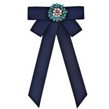 Women Bow Tie Necktie Brooch Ribbon Collar Crystal Brooch Pin Wedding J NUK