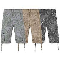 NEW Men Twill Cargo Shorts Cotton Bandana Print Green Gray beige Sizes 32-44