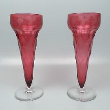 Pair Large English or Bohemian Faceted Engraved Cranberry & Clear Glass Vases GL