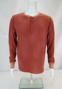 Ralph Lauren Double RL Men's Long Sleeve Half Button Up Henley Shirt Red Medium