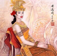 Antique Beauty-ORIGINAL ASIAN ART CHINESE FIGURE WATERCOLOR PAINTING