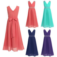 New Sequin Beads Chiffon Bridesmaid Wedding Flower Girl Dress Party Kids Clothes