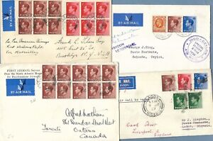 FOUR AIRMAIL COVERS - SPECIAL AND FIRST FLIGHT - KEVIII - CEYLON, NIGERIA, USA.