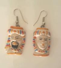 orecchini ARTIGIANALI testa di moro,ceramica dipinta a mano,caltagirone, Sicilia