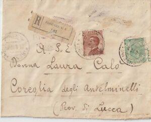 1922 5C+85C. V.EMANUELE SU RACCOMANDATA DA FIRENZE X COREGLIA  ANTELMINELLI LU