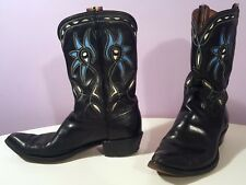 VINTAGE ACME COWBOY BOOTS PEEWEE INLAY CUT OUT BLUE EYE Size 9.5