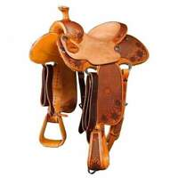"Western Natural Leather Roper Ranch Saddle With Hard Seat "" 14"" 15, 16"" 17"" 18"""