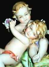 ANTIQUE GERMAN DRESDEN MULLER NUDE CHERUBS PUTTI KIDS GROUP PORCELAIN FIGURINE