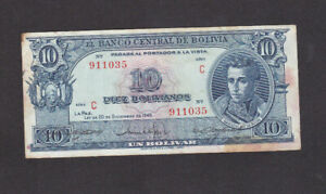 10 BOLIVIANOS VERY FINE BANKNOTE FROM BOLIVIA DATED 1945 PICK-139