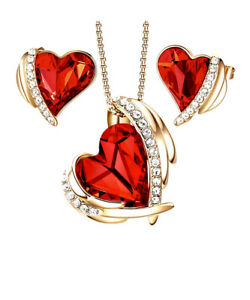 Rose gold finish heart Red Ruby And created diamond necklace And Earrings