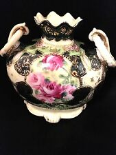 Antique Nippon floral Vase with handles Hand painted
